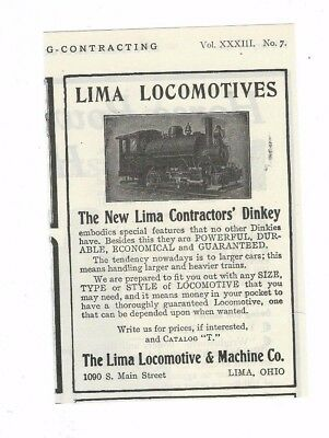 1910 Lima Locomotive & Machine Co. Lima, Oh.Contractor's Dinky Locomotive ad