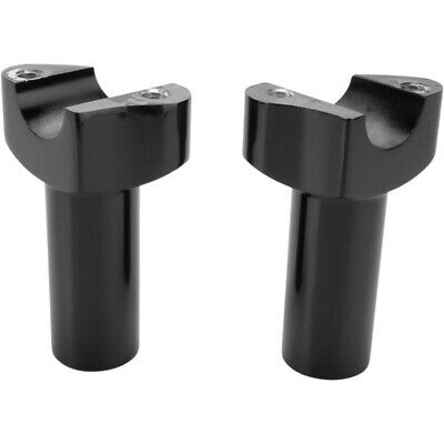 """Drag Straight 3.5"""" Tall Black Forged Aluminum Risers 1"""" Clamp Area for Harley"""