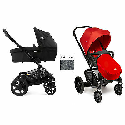 New Joie Chrome Plus Carrycot & Pushchair Black Frame - Tomato Red