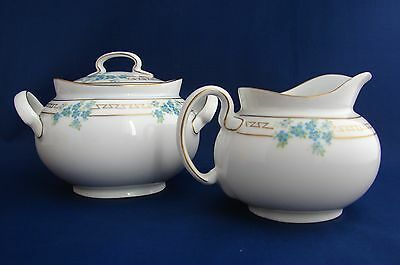Hutschenreuther Selb Porcelain Blue Floral Gold Cream and Sugar Bowl Bavaria