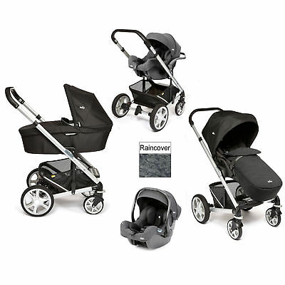 New Joie Black Carbon Chrome Plus I-Size Travel System Silver Frame From Birth