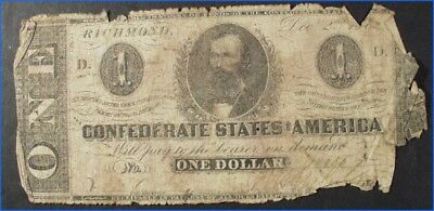 VINTAGE DEC. 2nd, 1862 CONFEDERATE STATES OF AMERICA $1 BANKNOTE CLEMENT C. CLAY