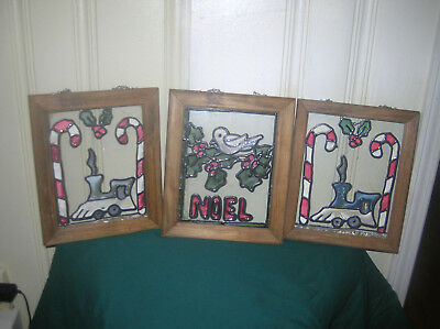 3 Piece Framed Stained  Glass Christmas Decor Candy Cane Train Bird Noel
