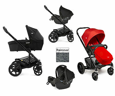 New Joie Chrome Plus Black Frame Travel System Tomato Red Carrycot Black Carbon