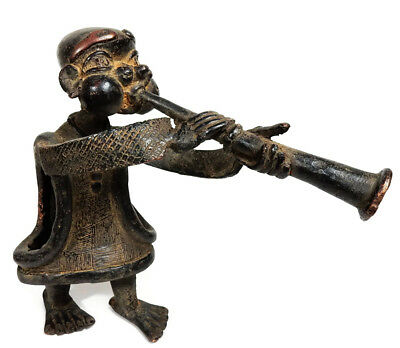 Mega Rare Superb Antique African Tribal Tikar Cast Bronze Musician Drum Player