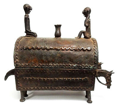 Mega Rare African Tribal Antique Dogon Cast Bronze X-Large Lidded Vessel Kuduo