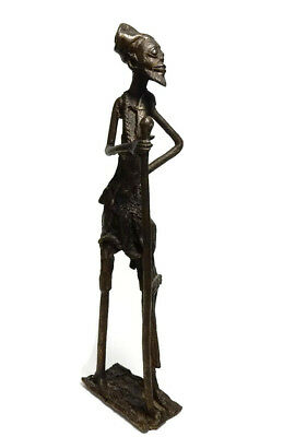 Rare Antique African Tribal Cast Bronze Burkina Faso tall sculpture -Traveler 1