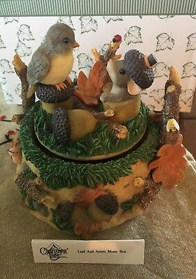 """Charming Tails """"Leaf And acorn Music Box"""" Fitz And Floyd 93/100 W/ Box"""