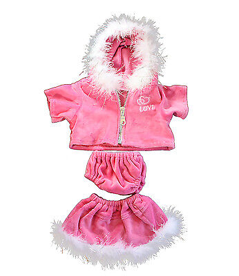 """Pink Love Heart Outfit Teddy Bear Clothes Fits Most 14"""" -18"""" Build-A-Bear & More"""