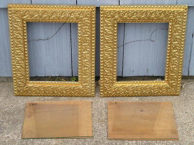 Pair Antique Aesthetic Eastlake Victorian Gold Patterned Picture Frames 8~10 Gls