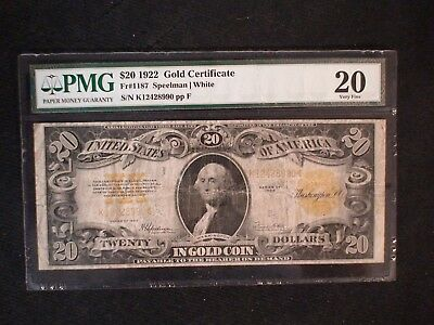 1922 Twenty Dollar PMG VF20 GOLD CERTIFICATE $20 NOTE PRICED TO SELL NOW!