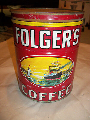 Vintage 2 lb. FOLGER'S COFFEE Tin .Golden Gate brand. with lid.