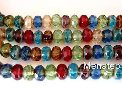 25 6 x 9 mm Czech Glass Gemstone Donut Beads: Picasso - Multi Color Mix