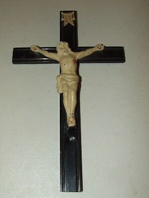 Antique 1920's Art Deco Jesus INRI Wall Crucifix Cross
