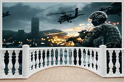 Cheap 3D Window view Army Fighters Bombing Wall Sticker Decal Wallpaper 918