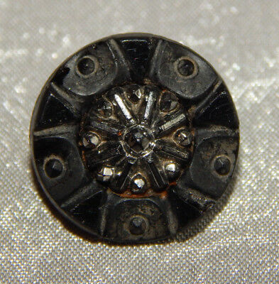 Antique Vintage Black Glass Button Silver Luster Signed #326-A