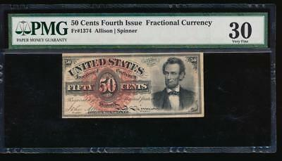 AC Fr 1374 $0.50 1869 fractional fourth issue PMG 30 LINCOLN