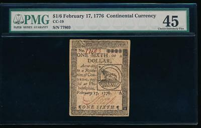 AC February 17, 1776 $1/6 Continental Currency CC-19 PMG 45 fugio design