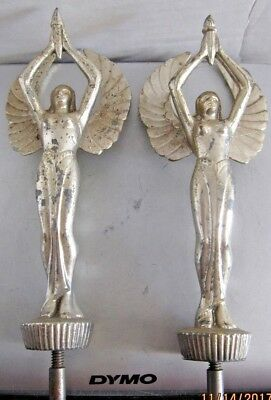 Victory Goddess trophy topper hood ornament woman w wings & torch. b14