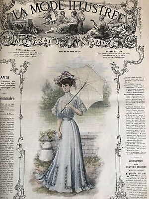 French MODE ILLUSTREE SEWING PATTERN September 1st & 8,1907