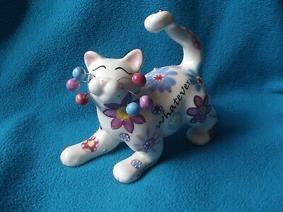 2007 Amy Lacombe Cat Figurine WHATEVER! #11018 Flowers Floral
