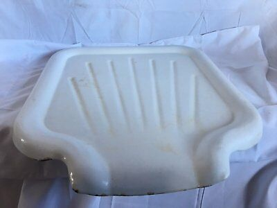 Vtg Heavy  Steel White Porcelain Kitchen Sink Basin Extention Drainboard 29-17J