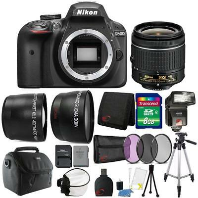 Nikon D3400 24.2MP DSLR Camera 18-55mm Lens + TTL Flash & Premium Accessory Kit