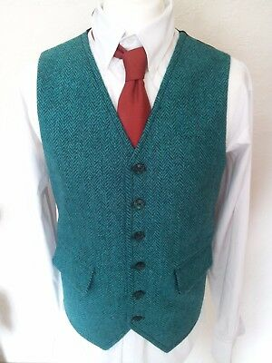 "MENS Green HERRINGBONE WAISTCOAT HARRIS TWEED VEST  38"" 50"" Wool Gilet Formal"
