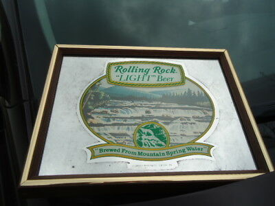 Antique Rolling Rock Light Beer Mirror Bar Sign Neat Older Advertising