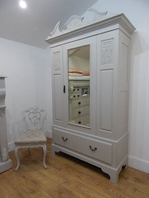 Antique painted wardrobe armoire