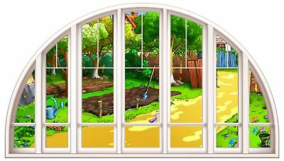 Huge 3D Arched Window Childs Garden View Wall Stickers Film Mural Art Decal 104