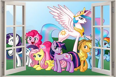 Huge 3D Window view Fairy Tale Childs Pony Ponies Wall Sticker Mural Decal 178