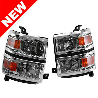 For Chevy Silverado 2014-2015 Chrome Housing Amber Corner Headlights Oe Style