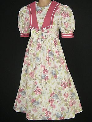 Laura Ashley Vintage Mother&child Dusky Isabella Rose Occasion Bow Dress,7 Yrs