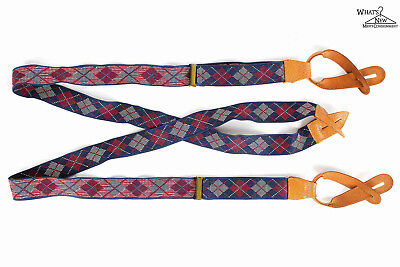 Argyle Stretch Suspenders w/Leather Fasteners