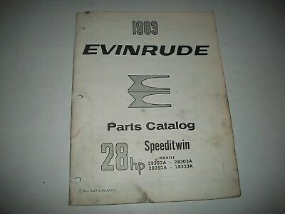 """1963  Evinrude (Johnson) """"speeditwin""""  28  Hp Outboard Parts List Catalog"""