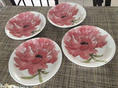 ROYAL STAFFORD RED Poppy Dinner Plates 4 -/Set of 4 soup cereal bowl ...