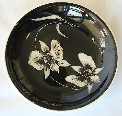 Vintage STUDIO ANNA? Cooktown Orchid 1959 QLD B&W Pin Dish Australian Pottery