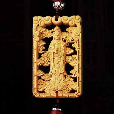 Hollow Out Wood Carved Chinese Guan Yin Buddha Statue Double Sides Car Pendant