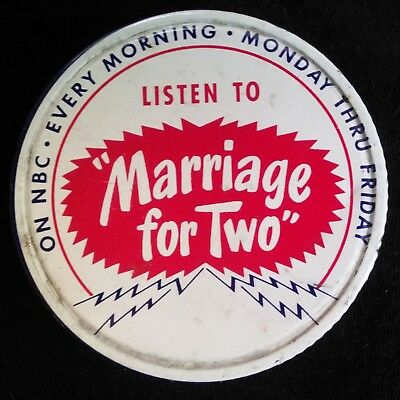 """Vintage """"Marriage for Two"""" NBC Radio Show Kraft Miracle Whip Jar Lid 1949-1950"""