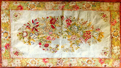 Antique wool needlepoint rug, France, mid 1800s ***PRICE REDUCED***
