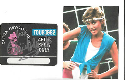 Olivia Newton John/genuine 1982.after Show Orig. Pass/full Autograph. Rare.