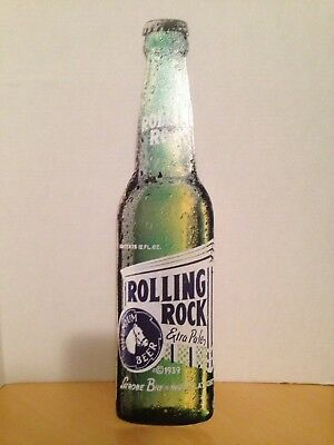 "Rolling Rock Beer Bottle Tin Sign 21""x5"""