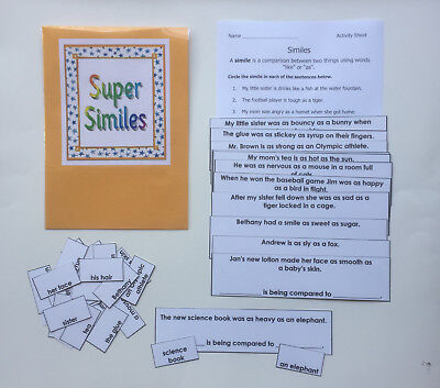 Teacher Made Literacy Center Rducational Learning Resource Game Similes
