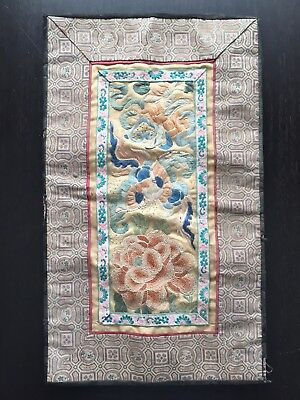 Fine Antique Qing Chinese Silk Embroidery Forbidden Stitch Floral Art Panel NICE