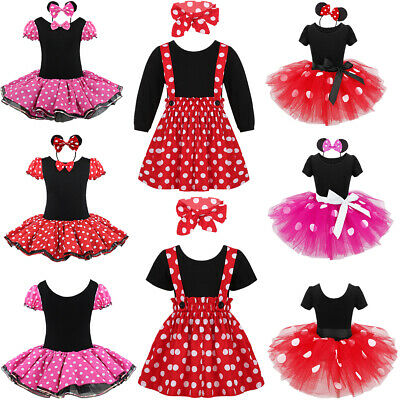 c81e2e1ee Kids Girls MINNIE MOUSE Costume Ballet Tutu Fancy Dress Up Cosplay Outfit +  Ears