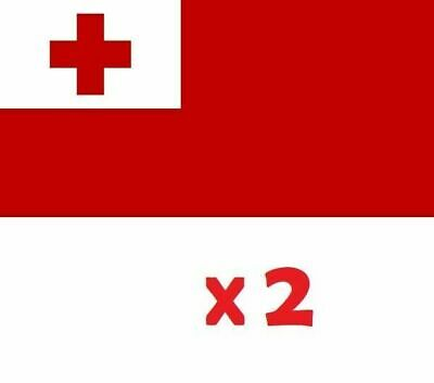 2 x Tonga National Car Flag Mate Ma'a RLWC Polyester Flag 30cm x 45cm with Pole!