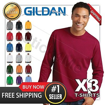 LOT of 3 NEW BLANK MANS GILDAN LONG Sleeves t shirt casual 3 DAYS SALE!