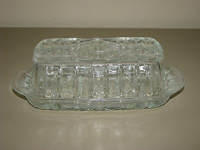 Vintage Anchor Hocking EAPC Glass Star Of David Butter Dish 2pc