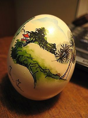 Vintage Asian Hand Painted Genuine Egg Shell Signed Detailed Landscape Oriental